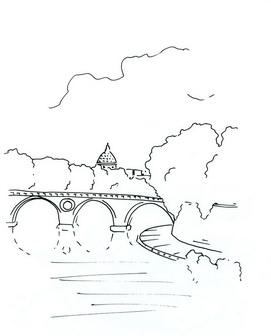 Трафарет: мост, речка и деревья
