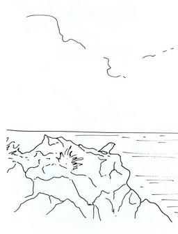 Трафарет: скалы, море, птица сидит на обрыве