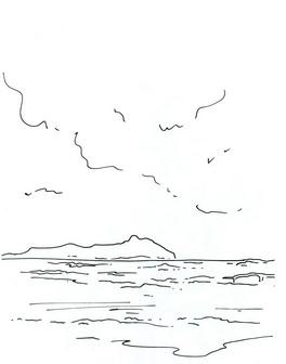 Трафарет: океан, небо