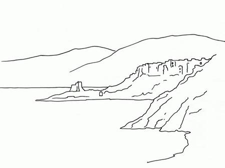 Трафарет: море и небольшие горы