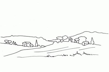 Трафарет: деревня на равнине с небольшим изменениями ландшафта
