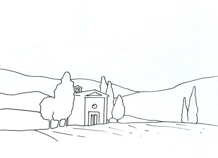 Трафарет: домик среди степи